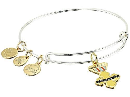 Alex and Ani Wizard of Oz, Courage Bangle Bracelet, Two-Tone Shiny Silver One Size