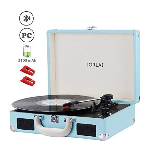Jorlai 3-Geschwindigkeiten Plattenspieler mit Bluetooth Schn