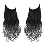 Black to Gray Ombre Halo Hair Extension Long Synthetic Wavy Curly Hairpiece 16 Inch 3.9 Oz Adjustable Transparent Wire Headband for Women Heat Resistant Fiber No Clip SARLA(M03&2Tgray)
