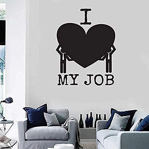 Stickers Muraux J'Aime Mon Travail Wall Applique Funny Message Office Intérieur Vinyle Fenêtre En Verre Amour Inspiration Art Mural 42X53cm