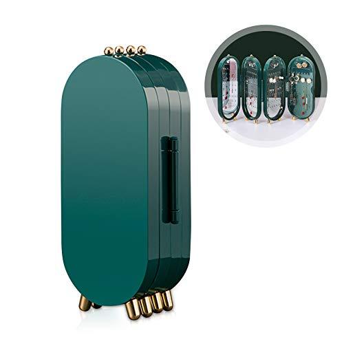 Galatée Con Espejo Expositor Pendientes Plegable - Organizador Pendientes 75 Pares de Pendientes – 3 Paneles para Pendientes, Brazaletes y Collares - Joyero verde