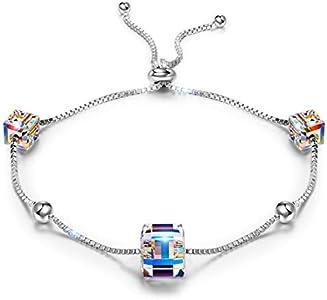 ANGEL NINA Joyería para Ella, Mujer Vida Colorida Pulsera para Mujer Plata 925 Con Cristales de Austria Cubic Colorido, Pulsera Hipoalergénicos, Elegante Caja de Joyas (Pulsera de plata para mujer)