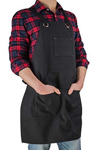 ETBOL 16 Oz Canvas Apron for Men - Black Heavy Duty Work Apron for Carpenters,Woodworkers,Blacksmith,BBQ,Gardener, workshop
