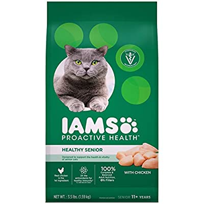IAMS PROACTIVE HEALTH HEALTHY SENIOR Dry Mature Cat Food with Chicken Cat Kibble, 3.5 lb. Bag