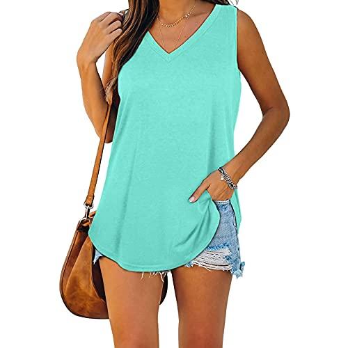 YUNDAN Women's Summer Casual Tank Tops V Neck Sleeveless Solid Shirts Soft Comfort Vest Workout Sports Yoga Blouses Tunic Mint Green