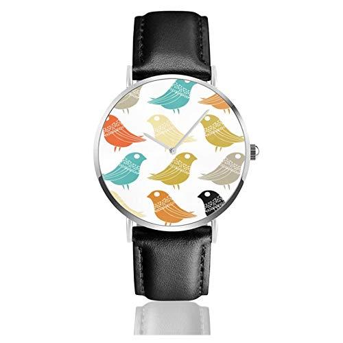 Klassische Uhr, bunte Retro-Vögel aus der Mitte des Jahrhunderts, moderne schwarze Lederarmband, legere Uhren
