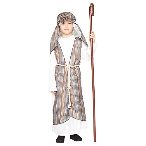 Shepherd Boy Costume, Kid's Nativity Outfit for Biblical Christmas Play (Child S) Beige