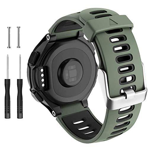 Correa de reloj compatible con Garmin Forerunner 735XT 220 230 235 620 630 Approach S20 S5 S6 Banda de silicona suave con hebilla de metal para reloj inteligente Garmin accesorio