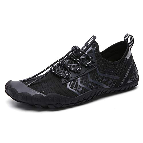 UBFEN Water Shoes Mens Womens Swimming Shoes Aqua Shoes Beach Sports Quick Dry Barefoot for Boating Fishing Diving Surfing with Drainage Driving Yoga 13 Women / 11 Men D Black Grey