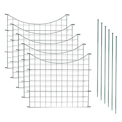 Hengda Teichzaun Set mit 5 Zaunelementen und 6 Befestigungsstäben Komplett-Set in verschiedenen Verpackungseinheiten und Formen - Sparset mit Unterbogen