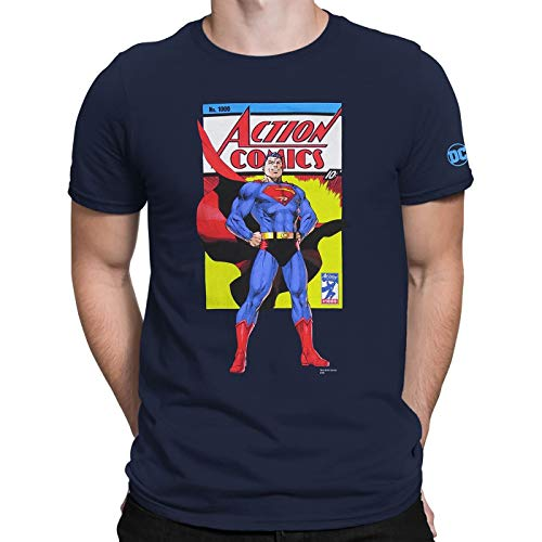 Camiseta masculina Super-Homem Action Comics No. 1000, Azul, S