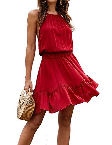 Miselon Womens Casual Halter Mini Dress Sleeveless Elastic Waist Dress(Wine Red,XL)