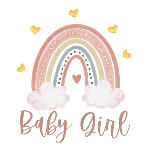 Baby Girl: Baby Shower Guest Book Boho Rainbow for Baby Girl. White and Pink