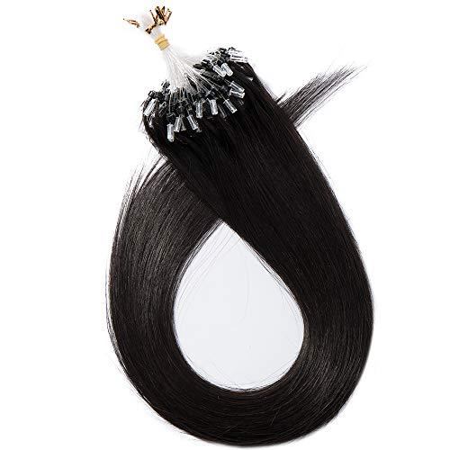 Microring Extensions Echthaar Nanoring Extensions Echthaar 0,5g Weich Natürlich Haarteil Glatt Haarverlängerung 100% Remy Hair 50g 60cm-1B# Naturschwarz