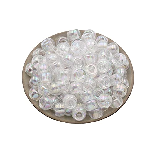 TTCI-RR Abalorios Cuentas Redondas de Color de plástico de 500 unids. Bricolaje Ropa de Accesorios de joyería Material Perlas Sueltas Agujero Grande Barril Beads DIY (Color : White)
