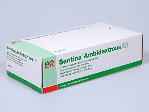 L&R: Sentina Ambidextrous Latex (Untersuchungs-) Handschuhe unsteril, puderfrei M 7-8, Neu, 1er Pack (100 Stück)
