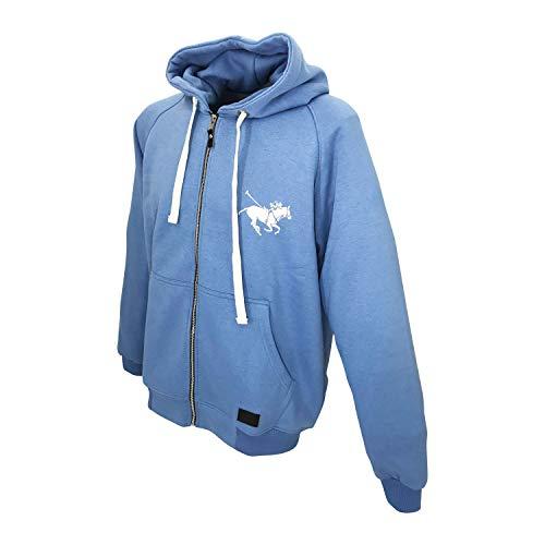 Sudadera con capucha para hombre con cremallera completa, logo de caballo de polo
