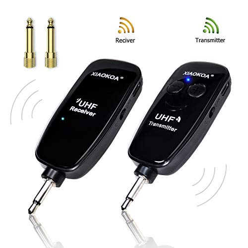 Wireless Guitar Syetem, UHF Rechargable Transmitter Receiver for Electronic Guitar Bass, Instrument Pickup and Amplifier, Guitar Accessories
