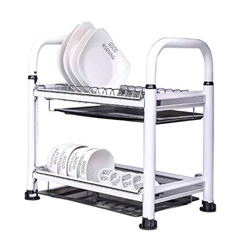 JPL Estante de almacenamiento de cocina para el hogar, estante para platos de drenaje de metal doble Estante de almacenamiento de almacenamiento de cocina 445 × 275 × 460 mm.