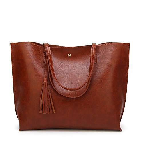 Forestfish PU Leather Women Shoulder Bag Handbags Satchel Bags Purse for Work Travel (Brown)