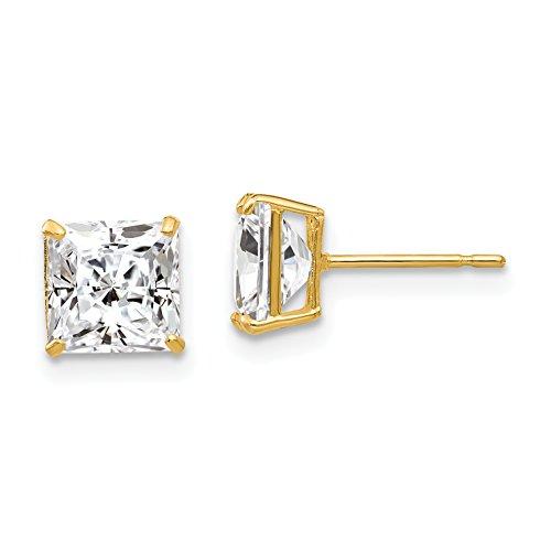 Q Gold 14k 6mm Cubic Zirconia Leverback Earrings