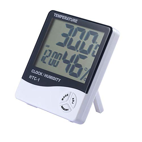 LCD-Digital-Thermometer, Nach Hause Thermometer Großes Display, Hochpräzise Elektronische Thermometer Innenwetterstation Wecker Hygrometer