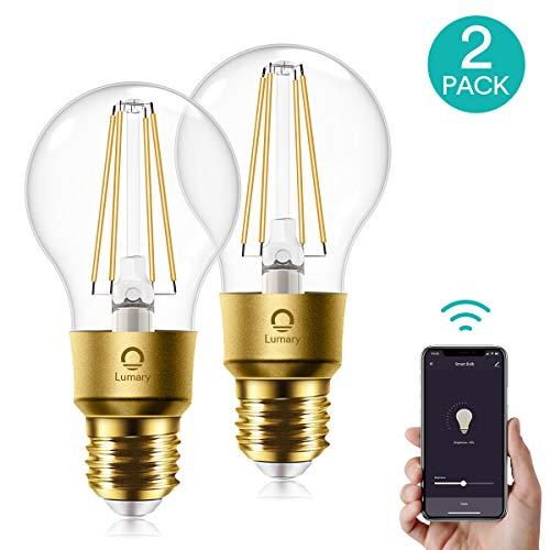 WLAN Glühbirne Alexa E27,Lumary Smart Edison Vintage LED Glühbirnen Lampen,6W ersetzt 60W LED Birne Lampe,Dimmbar Warmweiß 2700K Retro Glühlampe Leuchtmittel,Alexa Google Home Kompatibel,600LM 2 Stück