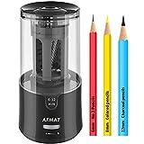 AFMAT ElectricPencilSharpener, PencilSharpenerforColoredPencils,AutoStop,SuperSharp&Fast,ElectricPencilSharpenerPluginfor6-12mmNo.2/ColoredPencils/Office/Home-Black