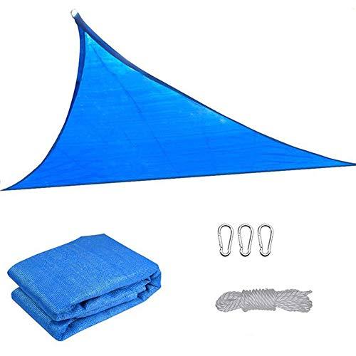 YOGANHJAT Sun Shade Sail Blue Triangle Outdoor Awning Shade Cover PE UV Block Water Air Permeable Sunshade for Patio Yard Backyard Sand Pergola Decking Swimming Pool,3.6x3.6x3.6m/11.8'x11.8'x11.8'