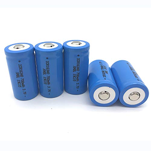 16340 Rechargeable Battery, CR123A Lithium Battery, NCR 16340 3.7V 700mAh Li-ion Battery, Low Battery Self-Discharge and Long Life Suitable for Flashlights, LED Lights, Power Banks Wait (4)