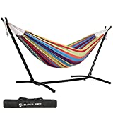 SUPERJARE Double Hammock with 9 FT Space Saving Steel Stand, 550lbs Capacity w/ Portable Carrying Bag, Perfect for Patio, Camping Indoor Outdoor, Tropical