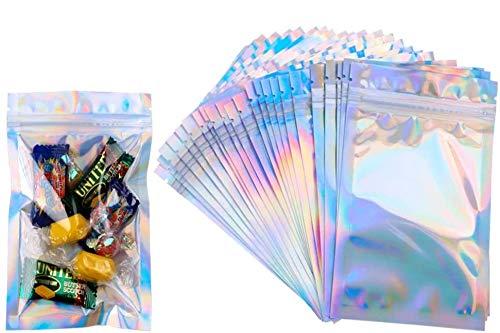 KAHEIGN 100 stuks folie ritszakken, 10 x 15 cm holografische kleur Mylar zakken dubbelzijdige metallic folie platte…