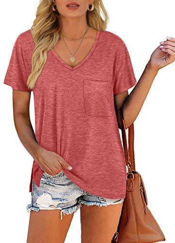 Short Sleeve Shirts for Women Oversized V Neck Side Split Coral T-Shirt XXL