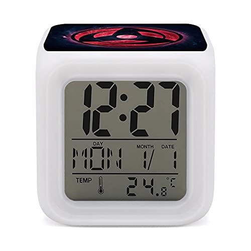 Naruto Sharingan - Despertador de 7 colores de fácil configuración, con pantalla digital de temperatura, reloj de noche, para dormitorio, habitación, oficina, luz de noche LED