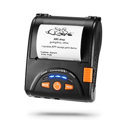 MUNBYN Stampante termica per ricevute 58mm, Mini stampante portatile per biglietti, Connessione wireless tramite Bluetooth 4.0 / USB, ESC/POS compatibile con Android/Windows