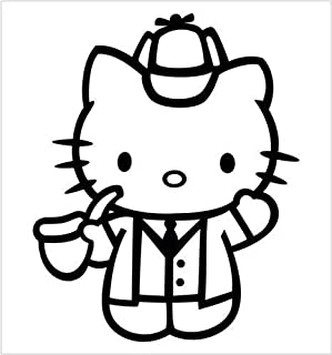 Hello Kitty Sherlock Holmes, Dark Blue, 6 Inch, Die Cut Vinyl Decal, For Windows, Cars, Trucks, Toolbox, Laptops, Macbook-virtually Any Hard Smooth Surface