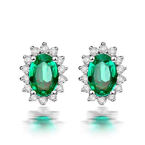 ANAZOZ Pendientes Verde Esmeralda,Pendientes de Oro Blanco 18 Kilates Plata Verde Oval Flor Esmeralda Verde 1.63ct Diamante 0.0024ct