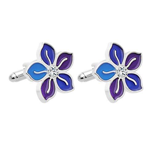 SMEJS Flor Gemelos para Hombres Botón de Mancha de Cristal de Color púrpura Brillante Mujeres de Negocios
