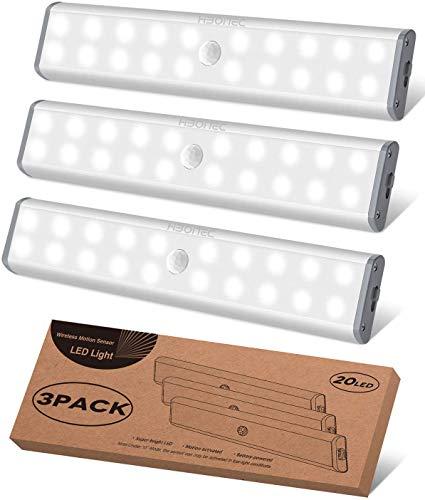 Schrankbeleuchtung LED Sensor Licht Kleiderschrank Lampen, USB Wiederaufladbar Schranklicht mit Bewegungsmelder Unterbauleuchte Küche LED Kabellos Sensor Kabinett Nachtlicht für Schranktisch,Treppe