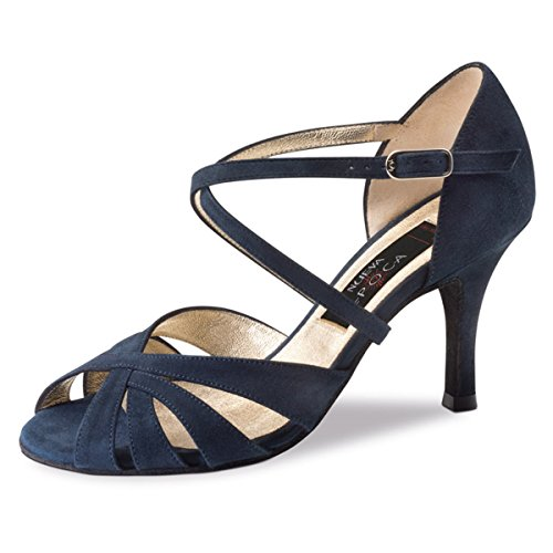 Nueva Epoca - Damen Tango/Salsa Tanzschuhe Gracia - Velourleder Blau - 7 cm [UK 7,5]