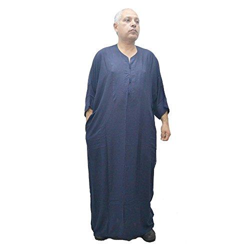 Chilaba, Djelaba, Galabeya, Baumwolle Kandora, marokkanisch, eine Größe für alle und sogar sehr dicke Menschen, misst 90 cm breit und 150 cm lang. Es schrumpft nicht (Dunkelblau)