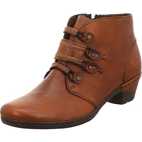 Rieker Lynn 76984-00 Black Leather Womens Heeled Ankle Boots EU 42