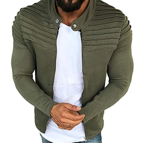 Männer Herbst Winter Falten Slim Stripe Fit Sweatshirt Raglan Zipper Strickjacke Langarm Top Coat Armeegrün L