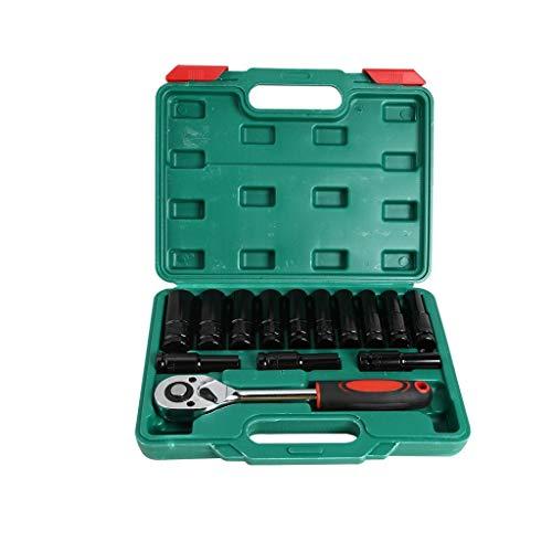 JYDQM 14pcs eléctrico trinquete Llave Destornillador Socket Hexagonal 8-24 mm Kit de Cabeza de Manga Llaves de Coche trinquete Universal