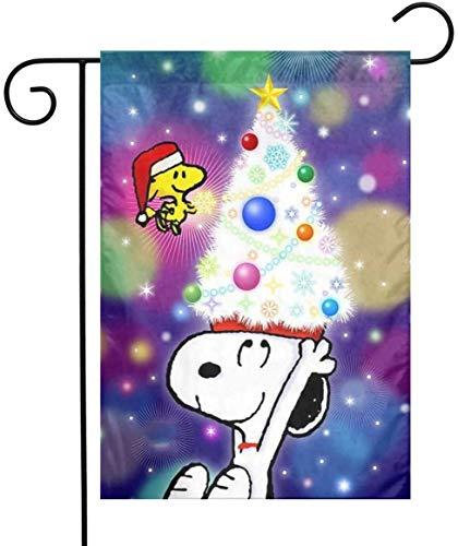 rainbowpig Garden Flag Yard Dekorationen - Benutzerdefinierte Frohe Weihnachten Snoopy Lawn Flag 12 X 18 Zoll