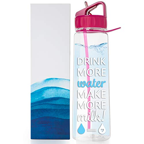 vBU Water Bottle for Breastfeeding Moms 30 oz Goal Marked Time Water Marker Measure Water Intake Daily. Motivational - Drink More Water Make More Milk,BPA-Free, Straw, flip top, Carrying Loop