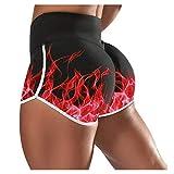 FONMA Women Gym Shorts Bike Shorts Compression Workout Leggings Yoga Shorts Capris Red