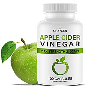 Apple Cider Vinegar Capsules – 100 Capsules 2100 MG – Natural Weight Loss – Healthy Diet – Appetite Suppressant – Detox – Powerful Cleanser Pills – Fat Burners for Men & Women – Metabolism Booster