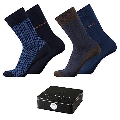 Bugatti Herren Socken 4 pack Design Fischgrät + uni basic schwarz in Metalbox, Size:39-42, Farben:navy