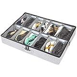 storageLAB Under Bed Shoe Storage Organizer, Adjustable Dividers - Fits Up to 12 Pairs - Underbed Storage Solution (Grey)